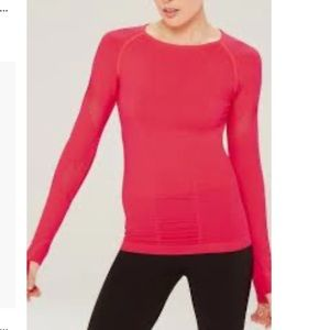 MPG Habit Seamless Long Sleeve Hot Pink Crewneck